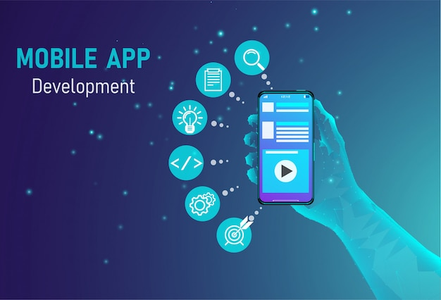 Conceito de desenvolvimento de aplicativos para dispositivos móveis