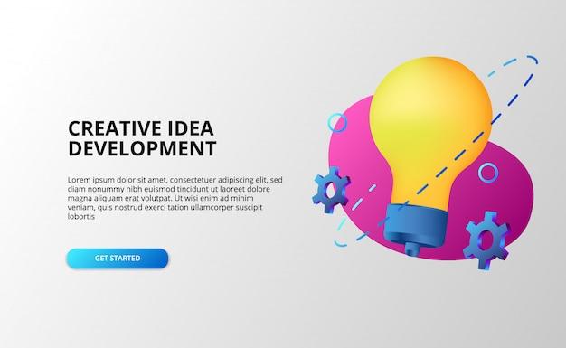 Conceito de desenvolvimento de ideia criativa com lâmpada e equipamento de cor pop gradiente moderno 3d.