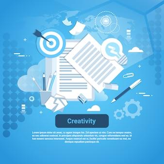 Conceito de desenvolvimento de idéia de criatividade banner web com espaço de cópia