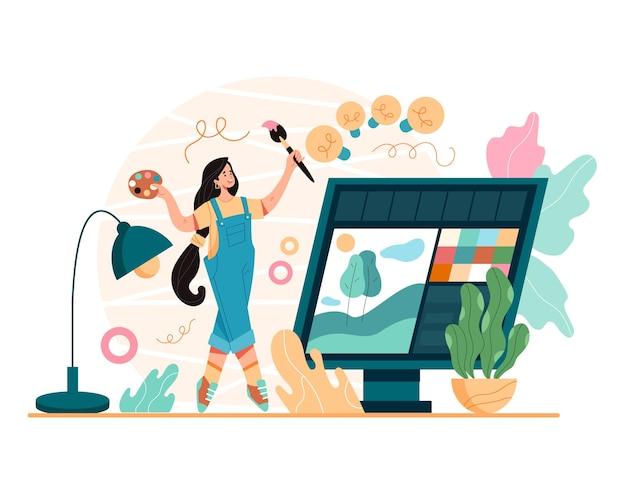Conceito de desenvolvimento de projeto de arte de designer digital, ilustração plana de desenho animado