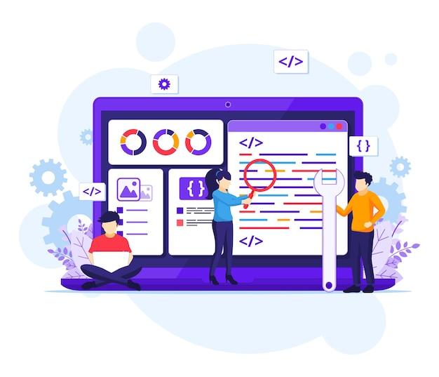 Conceito de desenvolvimento de software, as pessoas trabalham em um laptop gigante programando e codificando ilustração plana