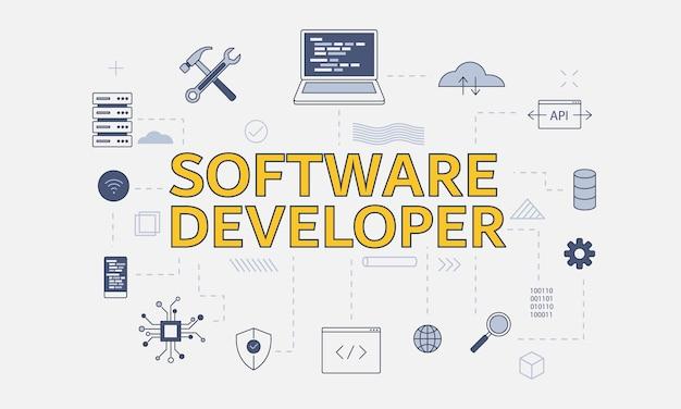 Conceito de desenvolvimento de software com conjunto de ícones com palavra grande ou texto no centro