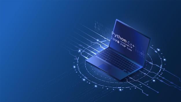 Conceito de desenvolvimento de software isométrico página inicial com laptop e design de código