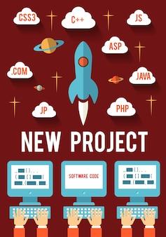 Conceito de desenvolvimento de startup de projetos de novos negócios para web e mobile