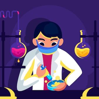 Conceito de desenvolvimento de vacina com cientista do homem