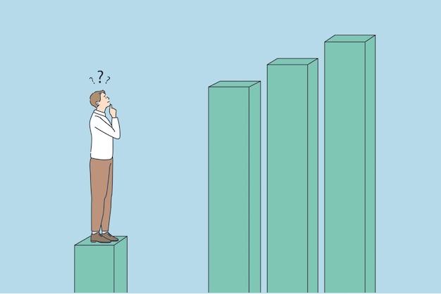 Conceito de desenvolvimento e estatísticas de negócios. jovem empresário frustrado pensando em pé no cubo de estatísticas tocando o queixo olhando para cubos crescentes à frente.