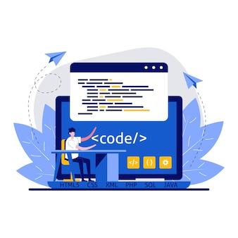 Conceito de desenvolvimento, programação e codificação web com personagem.
