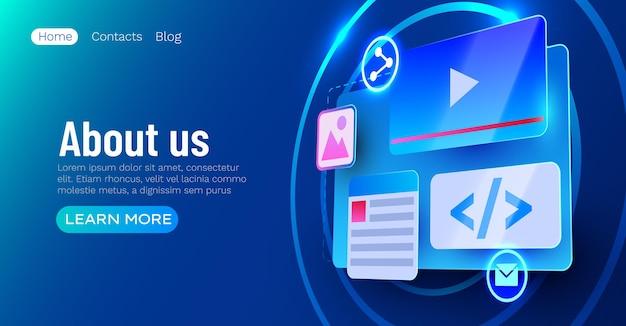 Conceito de desenvolvimento web do banner do elemento da interface do usuário do site