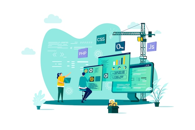 Conceito de desenvolvimento web em grande estilo com personagens de pessoas em situação