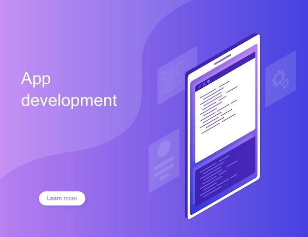Conceito de desenvolvimento web móvel, aplicativo móvel. ilustração moderna estilo isométrico plana