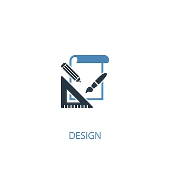 Conceito de design 2 ícone colorido. ilustração do elemento azul simples. design conceito símbolo design. pode ser usado para ui / ux da web e móvel