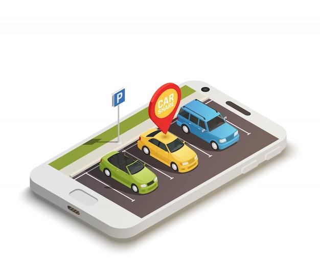 Conceito de design abstrato de compartilhamento de carro