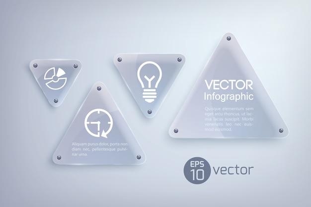 Conceito de design abstrato infográfico com triângulos de luz de vidro e ícones de negócios