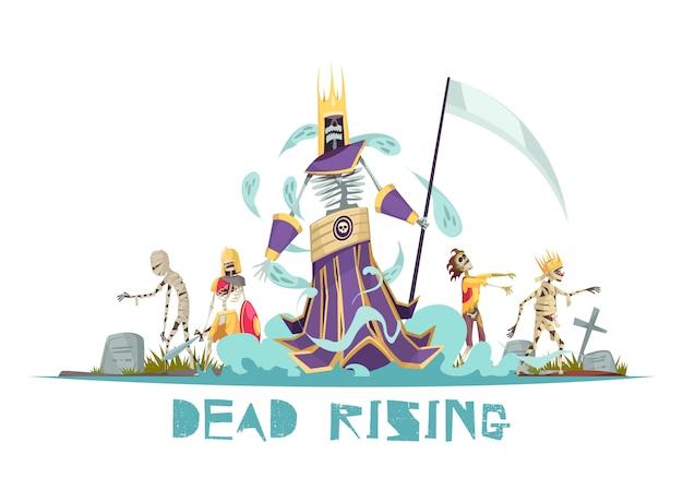 Conceito de design assustador subindo morto com fantasmas andando pelo cemitério entre sepulturas com ilustração de cruzes