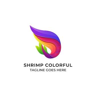 Conceito de design colorido de camarão modelo de ilustração
