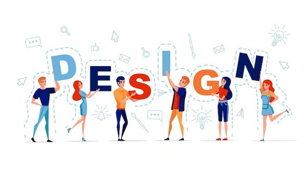 Conceito de design com homem e mulher segurando letras design com ícone na ilustração vetorial de fundo