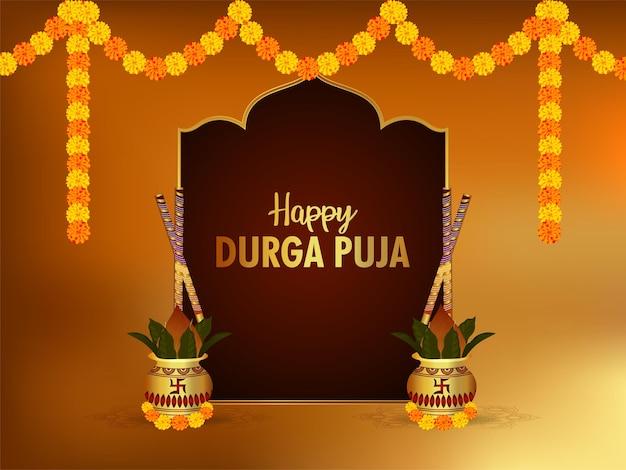 Conceito de design criativo de cartão de celebração do feliz durga puja