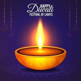 Conceito de design criativo feliz diwali com diwali diya