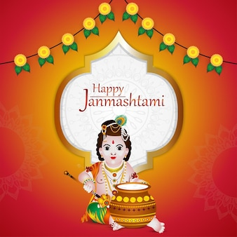 Conceito de design criativo krishna janmashtami