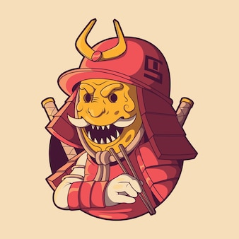 Conceito de design da ilustração do logotipo do personagem samurai