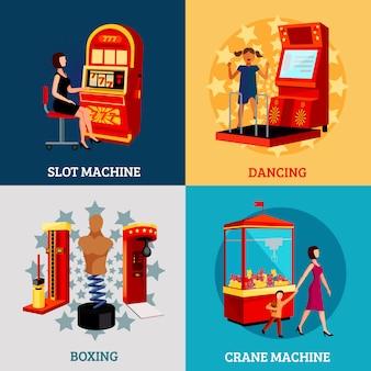 Conceito de design da máquina de jogo 2x2
