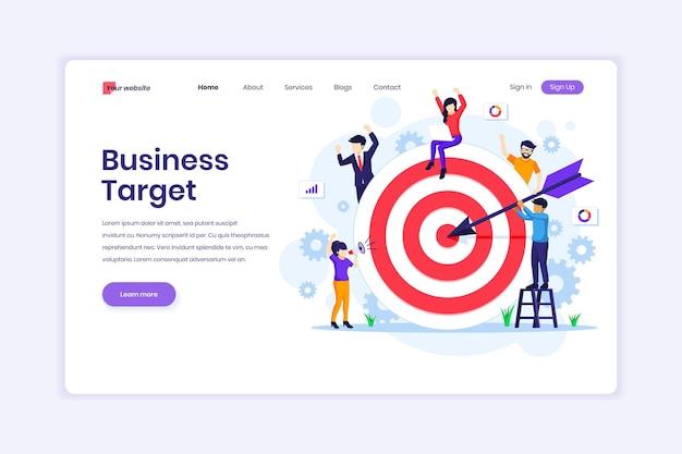 Conceito de design da página de destino da business target people colocar dardos na ilustração do alvo