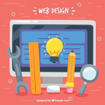 Conceito de design da web com design plano
