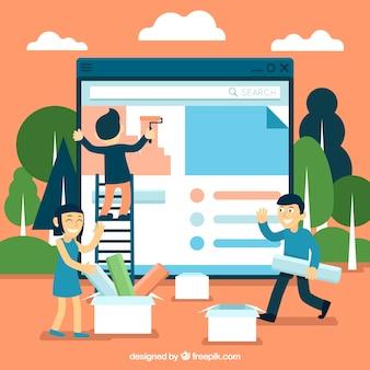 Conceito de design da web com estilo simples