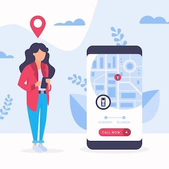 Conceito de design de aplicativo de táxi