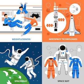 Conceito de design de astronautas 2 x 2
