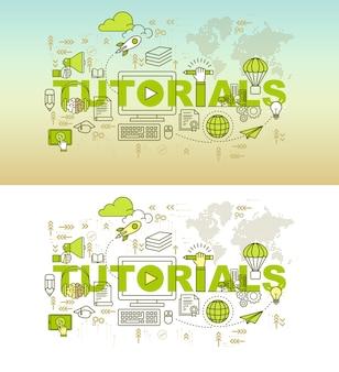Conceito de design de banner de página web de educação