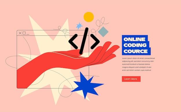 Conceito de design de banner de programação ou codificação on-line ou aplicativo móvel ou desenvolvimento de site com a mão saindo da silhueta do navegador e segurando o código em cores brilhantes da moda.