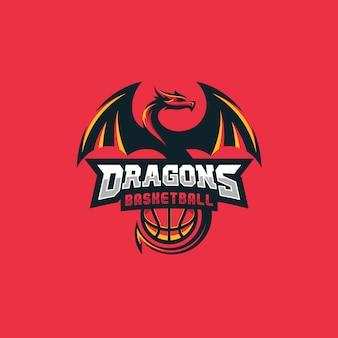 Conceito de design de basquete de dragão
