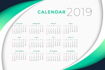 Conceito de design de calendário de negócios de 2019