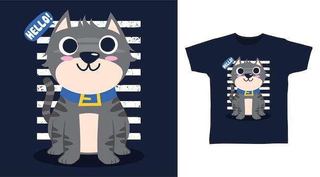 Conceito de design de camiseta com ilustração de gato cinza fofo
