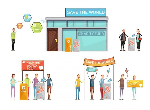 Conceito de design de caridade com lugar para doação e ativistas com cartazes chamando para salvar mundo plana