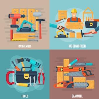 Conceito de design de carpintaria conjunto de ferramentas de marceneiro e serraria equipamentos quadrados composição plana ilustração em vetor
