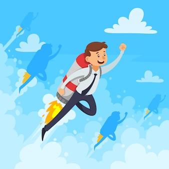 Conceito de design de carreira rápida com empresário e voar nuvens brancas de foguete fumam na ilustração vetorial de fundo azul