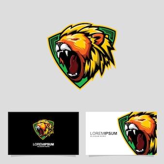 Conceito de design de cartão de identificação cabeça de leão selva rei cabeça leão rugido ilustração vetorial