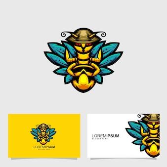 Conceito de design de cartão de identificação mascote monster wasp