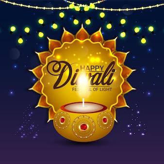 Conceito de design de cartão feliz diwali