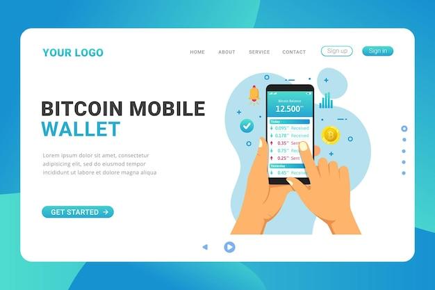 Conceito de design de carteira móvel bitcoin da página de destino