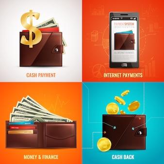 Conceito de design de carteira realista com imagens de símbolos de pagamento em couro clássico e aplicativo para smartphone