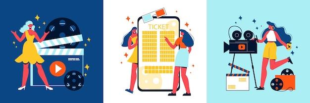 Conceito de design de cinema com conjunto de composições quadradas com rolos de personagens femininos e câmera com ilustração de smartphone