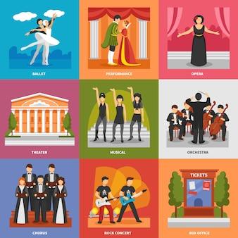 Conceito de design de composições de teatro