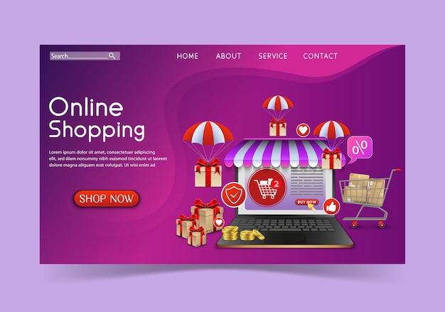 Conceito de design de compras online com laptop e presentes