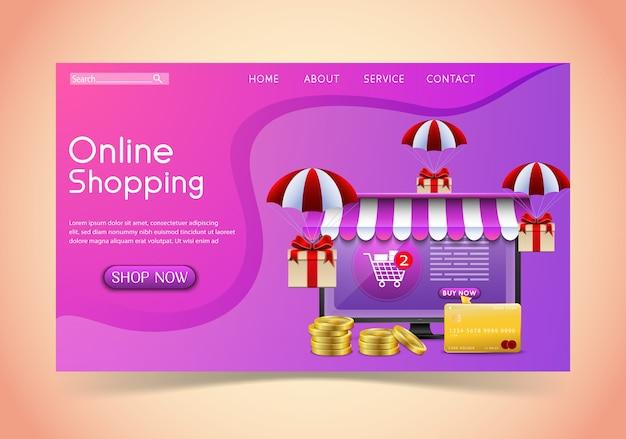 Conceito de design de compras online com laptop