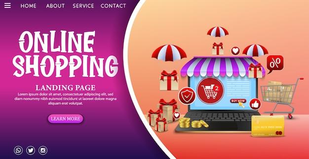 Conceito de design de compras online no aplicativo móvel com presentes