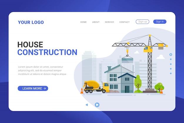 Conceito de design de construção de casa modelo de página de destino