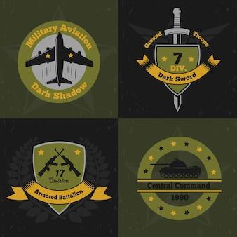 Conceito de design de cores de emblemas militares com emblemas planos coloridos de insígnias de serviço de guerra com armas